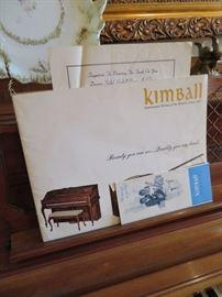 ORIGINAL PAPERWORK FOR KIMBALL PIANO