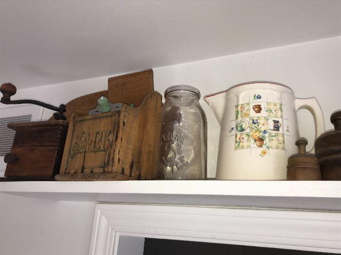 Vintage Salt scoop, milk bottles, watering can