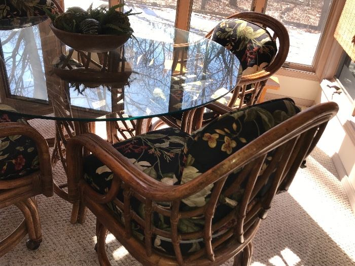 Rattan/Bamboo table & chairs on casters with cushions