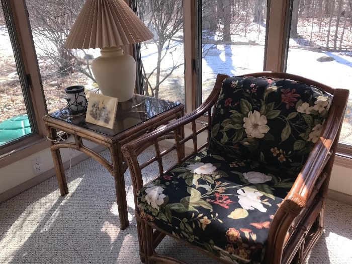 Rattan/Bamboo side table and arm chair with cushions