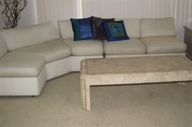 Second sectional. faux marble coffee table.