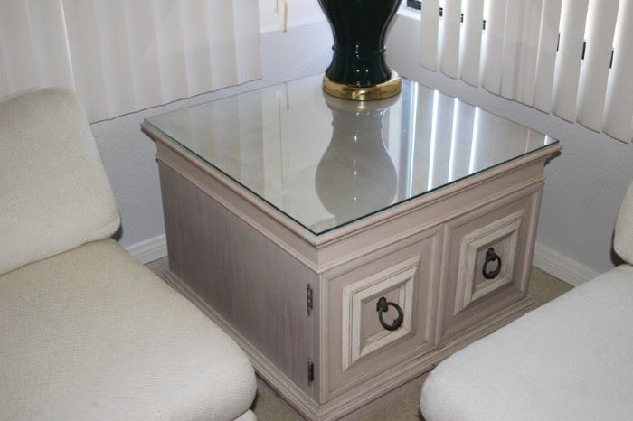 Glass top end table/cabinet.