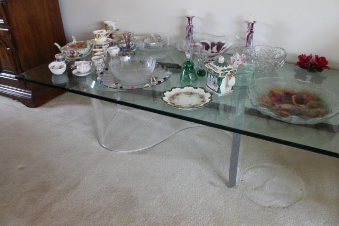 Modernist Lucite base coffee table w/ glass top