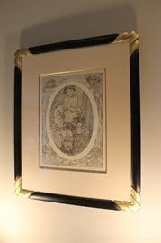 """Figures Decorative , plate 9"" by Alphonse Mucha, frame w/ coa"