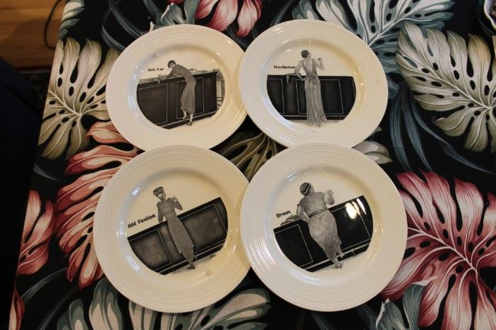 Vintage 1930s Crown Ducal cocktail plates, set of 4, rare