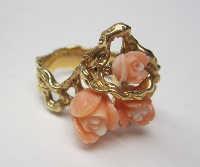 14k brutalist gold ring with carved pink coral rosettes