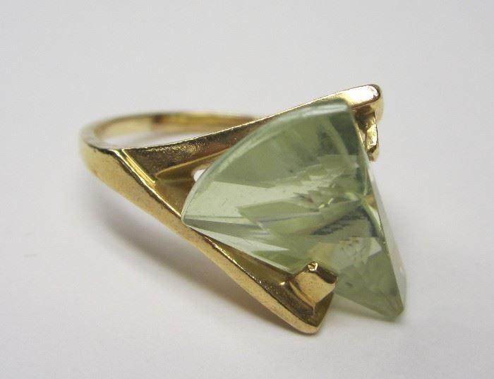 Lens cut peridot gold ring