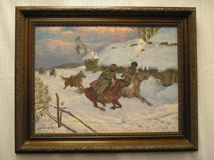 Oil on canvas depicting a Russian-Turkish war scene