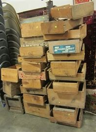 stack of wood fruit crates