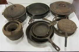 """Collection of vintage cast iron cookware.  Needs """"seasoned"""""""