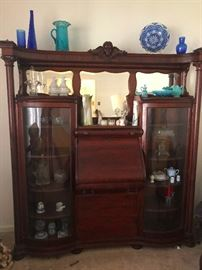 Antique Secretary with Double Bowed Glass Curio / Bookcase Cabinets. Must see!!