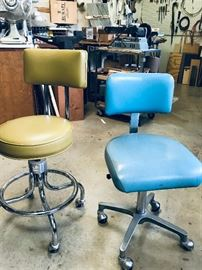 Vintage vinyl and chrome rolling chairs. Left (mustard) @ $65. Right (lt blue) @ $55