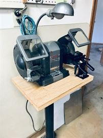 Vintage Craftsman 1/3 HP Grinder WITH stand. Totally enclosed, ball bearing, split phase motor. Price: $100