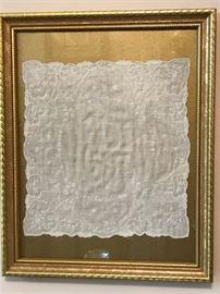 framed vintage hankie