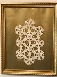 framed crochet doily
