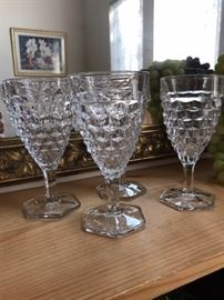 "Fostoria ""American"" 10 oz goblets-- there are 4.  Priced individually"