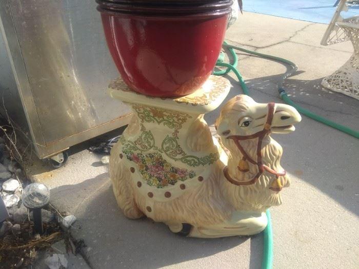 Ceramic camel plant stand vintage $75