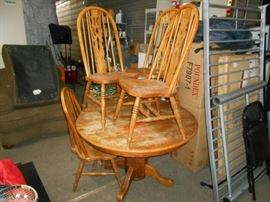 Round Wood Table and Four Matching Chairs