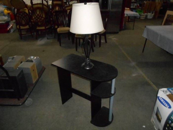Black End Table and Lamp