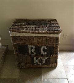 Old French Harvest Basket with Linen Liner
