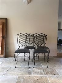 Set 4 Vintage French Iron Chairs with Leather Seats