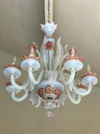 Large 1940s Murano Opaline Glass Chandelier