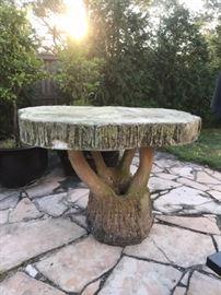 Massive Faux Bois Concrete Garden Table