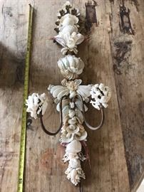 "36"" Tall 2-Arm Shell Encrusted Wall Sconce"