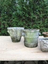 Vintage French Concrete Pots
