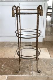 Vintage Italian Gilt Iron and Glass Three Tiered Table