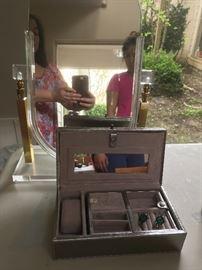 Jewelry boxes, jewelry, mirrors, jewelry stands