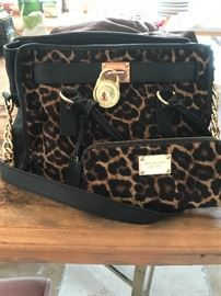 Michael Kors Leopard Hair Hide Handbag Amd Wallet
