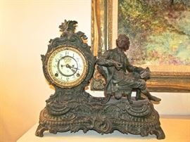 ANSOINA  CLOCK COMPANY,FIGURAL MANTLE CLOCK, PERFECT WORKING ORDER
