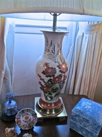 ONE OF THE PAIR OF HAND PAINTED LAMPS