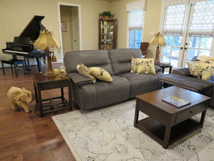 Power reclining sofa, end tables, lamps, accent pillows