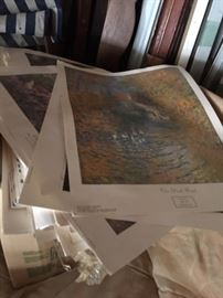 numerous prints ready for framing