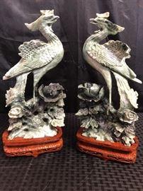 Chinese Jade Bird Statues