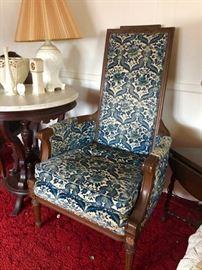 Pair blue velvet high back chairs