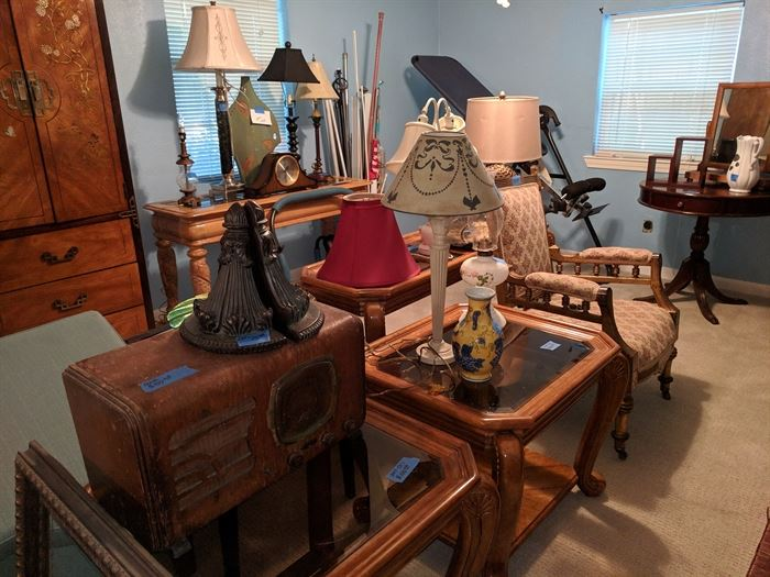 End tables, antique radio, lamps, upholstered chair