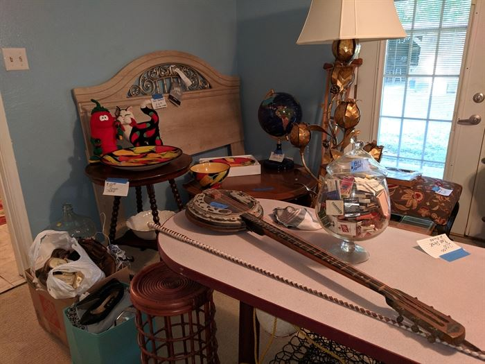 Antique banjo, headboard, Clay Art plates