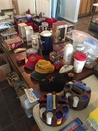 Poker chips, collectible caps, mugs