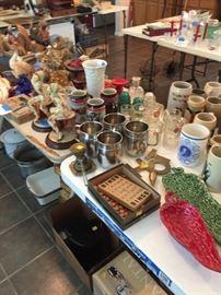 Beer steins, Wooden Bingo game, porcelain pans