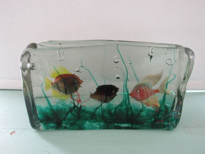 """1950's Murano Alfredo  Bambini  Gino Cendese fish aquarium Block 12"""" long 7"""" Tall by 3""""3/4 Thick"""
