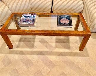 Parsons Style Burl Coffee Table by John Stuart