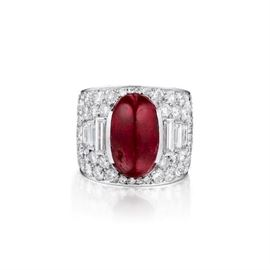 Lot 885 Ruby  Diamond Ring Unheated