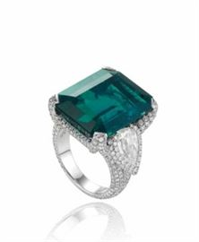 Lot 298 Columbian Emerald  Diamond RingGIA