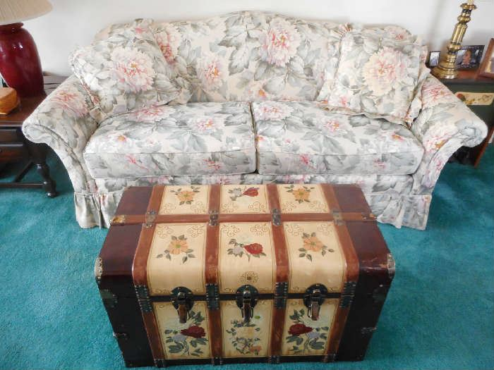 Floral sofa and trunk