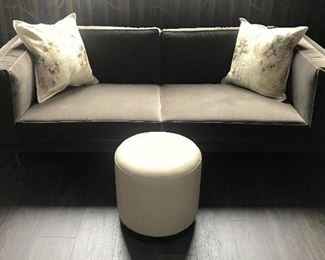 Blue Dot Design and Manufacturing MCM Style Custom-Made Mocha/Gray Velvet Sofa; Metal Peg Legs With Brushed Brass Finish; Polyurethane Foam Pads AND Crate And Barrel White Pleather Ottoman