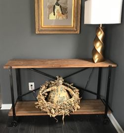 "Restoration Hardware Industrial/Rustic Console Table; Approx. 54"" W"