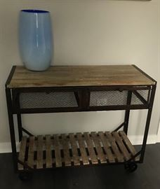 "Restoration Hardware Industrial/Rustic Console Table; Wheeled; Approx. 48"" W"